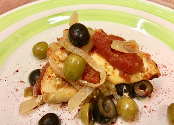 Chicken Dinner recipe with olives, onions and tomatoes, made by Sisters from the Community of Jesus on Cape Cod.